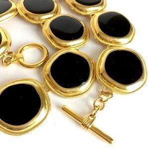 Jewelry - 🦋 Statement necklace black enamel goldtone links